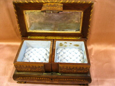 Antique Victorian Inlaid Musical Jewelry Box w/Key 19thc