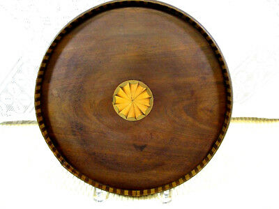 Antique Georgian Period Marquetry Inlaid Mahogany Service Tray