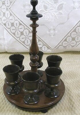 English Fruitwood Treen 6 Egg Cups w/Stand 19thc