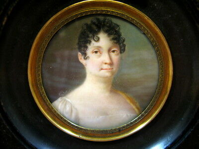 Antique Miniature French Portrait Painting Lovely Lady 19thc