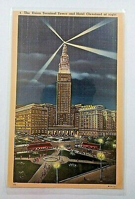 "Vintage 1930-40s ""The UNION TOWER and HOTEL CLEVELAND"" Cleveland OHIO Linen PC"