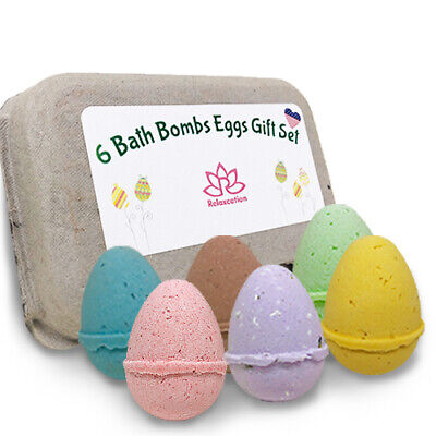 Eggs Kids Bath Bomb Gift Set - Easter 6 Pack Bath Bombs For Kids - All Natural