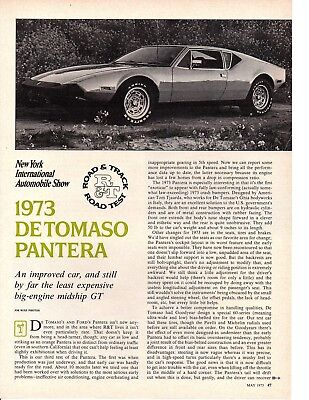 1973 De Tomaso Pantera 351/264 Hp ~ Original 3-Page Road Test / Article / Ad