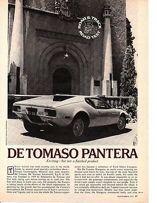 1971 De Tomaso Pantera 351/310 Hp ~ Original 5-Page Road Test / Article / Ad