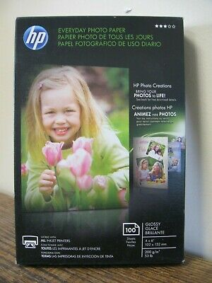 """New! HP Everyday Photo Paper- Glossy 4"""" x 6""""  100 Sheets  All Inkjet Printers"""