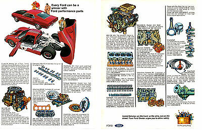 1969 FORD PERFORMANCE Parts / Mustang & Gt40 ~ Original 2-Page Print Ad