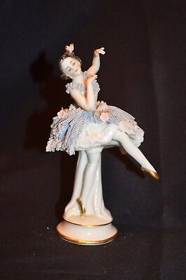 "Vintage Antique 6.25"" German Dresden Lace Ballerina Figurine Dark Hair Blue Tutu"