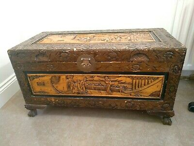 Asian / Oriental Style Solid Wood Hand Carved Ottoman Trunk wooden Chest