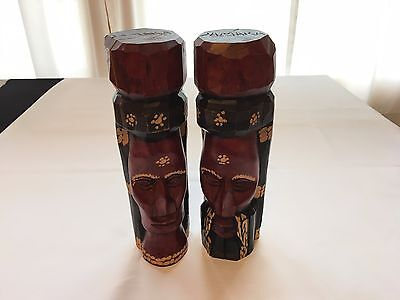 1985 Solid Wood Hand Carved & Stained Jamaica Man & Woman Head Statues