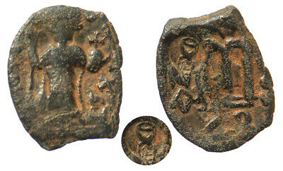 Byzantine Constans II AE Follis Constantinople mint with Countermark