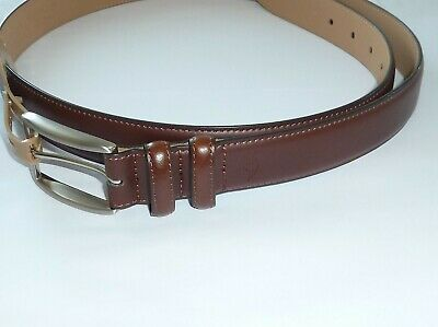 Columbia Logo Leather Belt Brown New NWT