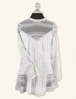 Victorian Trading Co Amelie Lace Button Back Blouse White S/M