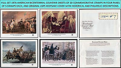 1976 full set 4 AMERICAN BICENTENNIAL SOUVENIR SHEETS Scott 1686-1689 w/cover #7