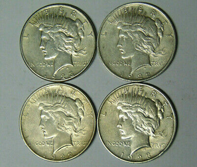 Lot of 4 VF/XF Peace Silver Dollars 1922 1922-D 1923 1923-S