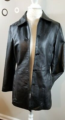 Reilly Olmes RO Women Small Solid Black Full-Zipper 100% Leather Coat Jacket