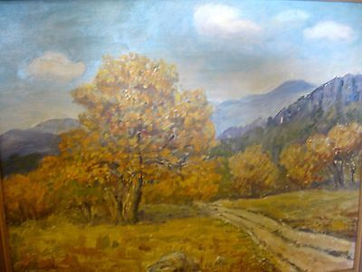 Vintage West Texas Artist Irene Flood Oil Painting Davis Mountains Ft Davis Tex