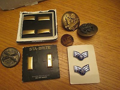 Lot Of US Military Insignia's, Pins, Hat Badges, Buttons, Medals & Patches