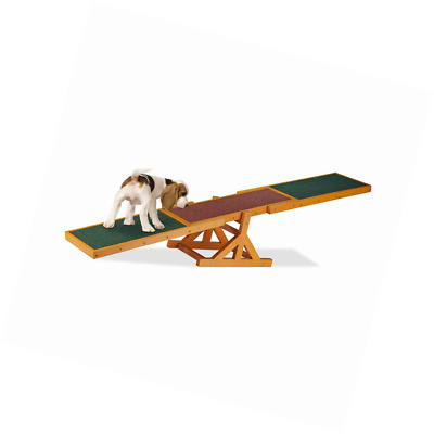 Relaxdays Colourful Wooden Pet Seesaw for Big and Small Dogs, Equipment Agility