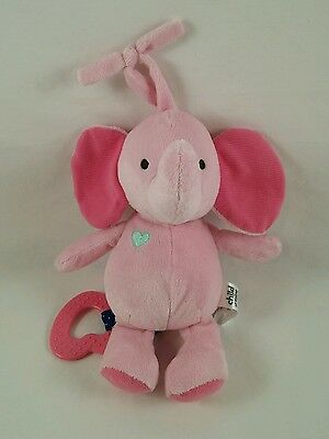 Carters Child of Mine Pink Musical Elephant Plush Baby Toy Brahms Lullaby Heart