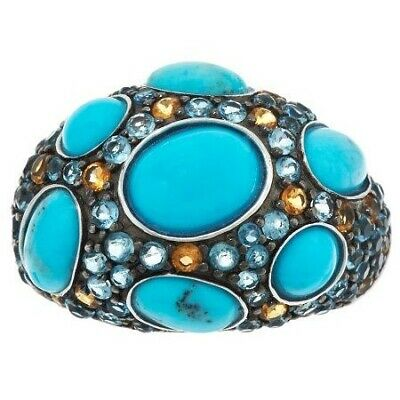 STERLING SILVER TURQUOISE AND 1.75 CT MULTI-GEMSTONE BAND RING SIZE 10 QVC $204