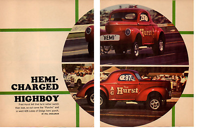 1940 Willys A/Gasser With 65 Dodge Hemi ~ Original 6-Page 1966 Article / Ad