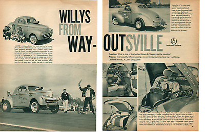 1941 Willys B/Gasser - Stone, Woods & Cook ~ Original 2-Page Article / Ad