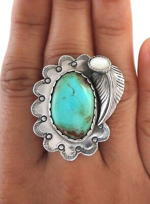Handcrafted Sterling Silver Turquoise & Mother of Pearl Ornate Ring - Size 8