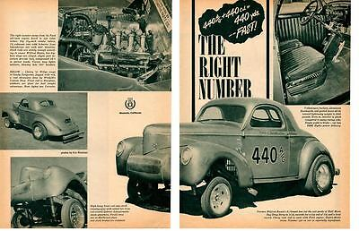 1941 Willys A/Gasser - Wilfred Rusca ~ Original 2-Page Article / Ad