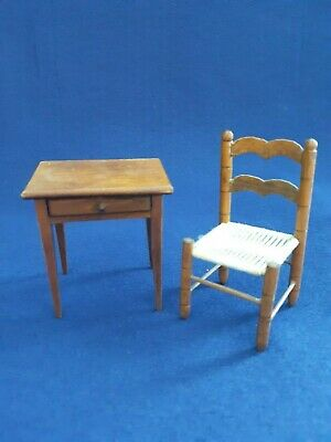 Vintage Doll House Furniture Table With Drawer and Chair Brown Two (2)