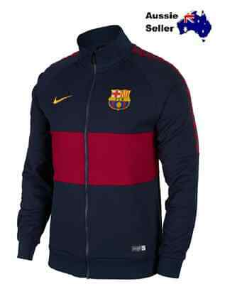 New! Nike Mens Fcb Barcelona Fc Full Zip Knit Jacket Blue (Obsidian) Ao5445-451