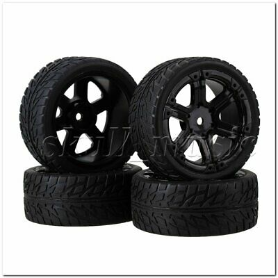 RC1:10 On-road Car Black Rubber Tyre& Black Plastic 6-Spoke Wheel Rim Pack of 4