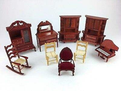 LOT Vintage Antique DOLL HOUSE Miniature Furniture Parlor Living Bed Room Wooden