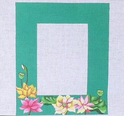 Handpainted Needlepoint Canvas Julie Mar Lotus flower picture mirror frame