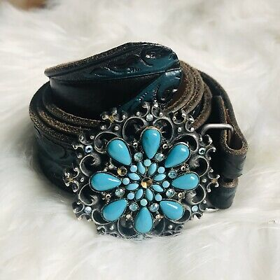 """Beth frank teal Jeweled tooled leather belt Size Womens Wiast 38"""""""