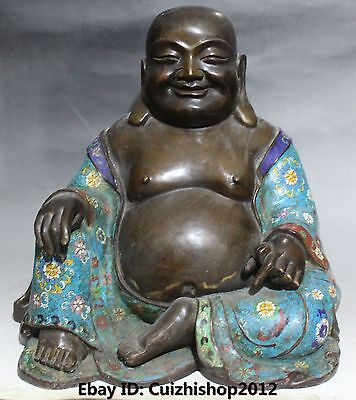 Chinese Purple Bronze Cloisonne Enamel Happy Laugh Smile Maitreya Buddha Statue