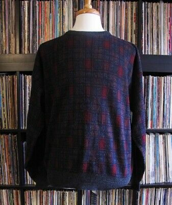 Vintage Sears & Roebuck Mens Red Blue Gray Check Sweater Knitted in Italy Large