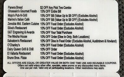 Restaurant Fast Food Fundraiser Discount Card - 18 restaurants - Other Services