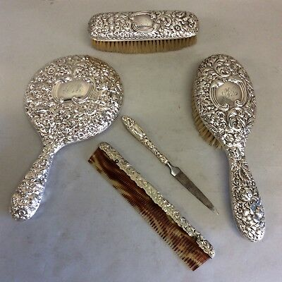 Sterling Silver 5-Pc Repousse Vanity Set by Gorham