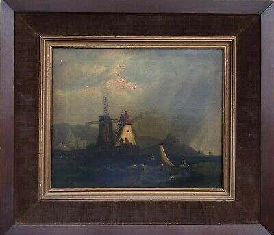 Fine Art European Antique 18th Century Windmil Original Oil On Canvas Painting