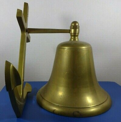 Heavy Nautical Cast Brass Bell With Anchor Wall Mount 7 1/4 Inch Diameter