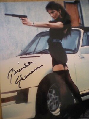"""Hand Signed Sexy Photo Brinke Stevens-Sexy Stockings With Gun--""""scream Queen"""""""