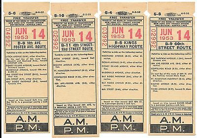 LOT 4 Tickets New York 1953 FOSTER 49th ST 53rd ST KINGS HIGHWAY 60th ST BEAUTY