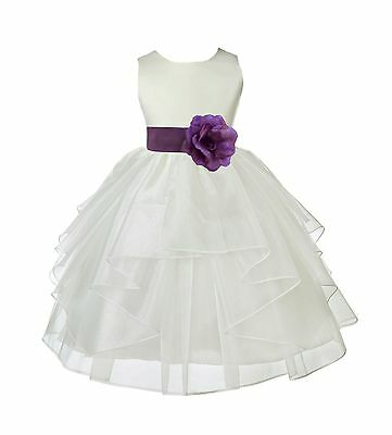 Flower Girl Princess Bow Dress Toddler Baby Wedding Party Pageant Organza Dress