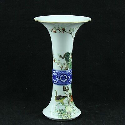 Chinese Exquisite Handmade peacock porcelain vase