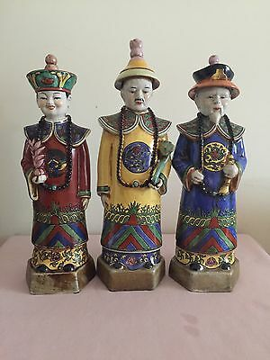 Antique chinese qingdynasty 3 king statues