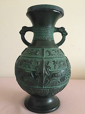 antique chinese cast Iron vase  H 10 inches