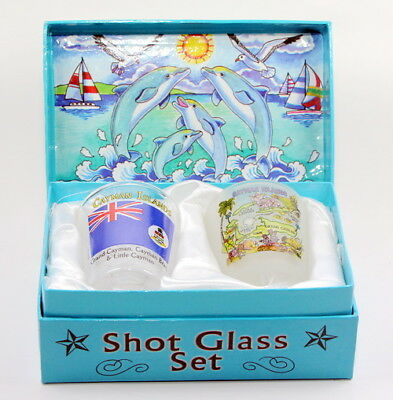 Cayman Islands Jumping Dolphins Boxed Shot Glass Set (Set Of 2)