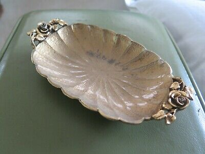 MATSON Gold Jewellery Tray or Soap Holder with ornate rose and petal design