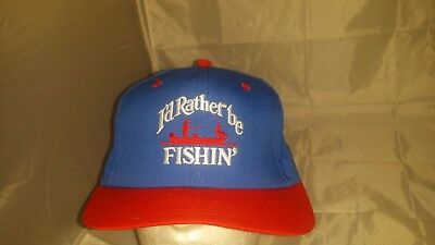 2f010f28c6293 Vintage Hat I D RATHER BE FISHIN  FISHING BLUE RED SNAPBACK HAT CAP MADE