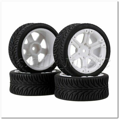 RC1:10 On-road Car Rubber Leaves Tyre& White Plastic 6-Spoke Wheel Rim Pack of 4